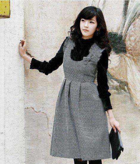 Korean Fashion Wholesale [B2-2013] Vintage style Dainty Wool Flannel Dress + Top Set - Black