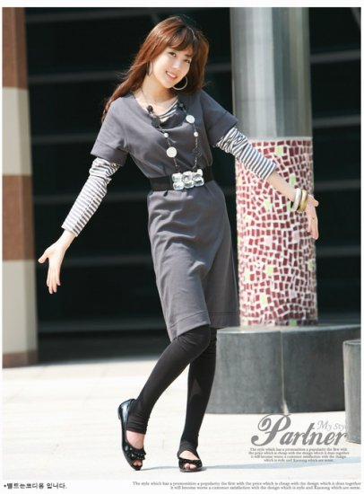 Korean Fashion Wholesale [D2-X350] Office knit Layered Dress + Top Set - Gray