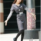 Korean Fashion Wholesale [D2-X350] Office knit Layered Dress + Top Set - Gray