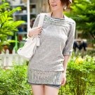 Korean Fashion Wholesale [D2-531] Sparkling Sequined Sweater knit Dress - Gray
