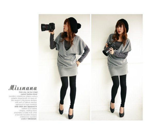 Korean Fashion Wholesale [C2- 324] 2-piece long sleeve Sweater V-neck Dress Set - Gray