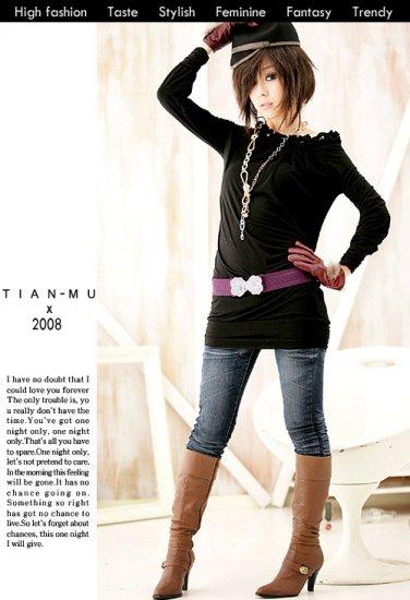 Korean Fashion Wholesale [B2-6207] Off Shoulder Sparkling Little long sleeve Sweater Dress - Black