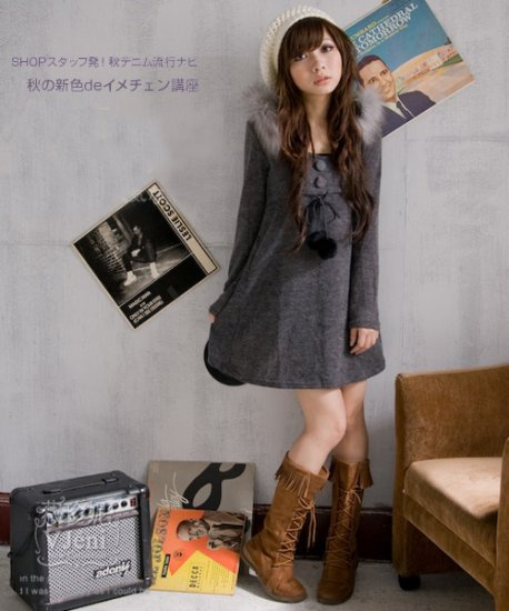 Korean Fashion Wholesale [B2-6192] Wool warm & Comfy Sweater long sleeve Dress - dark Gray