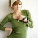 Korean Fashion Wholesale [B2-6183]  long sleeve button down slim fit knit shirt Dress - Green