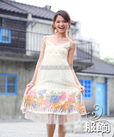 Korean Fashion Wholesale [C2-810] Flowers Chiffon Dress - Cream