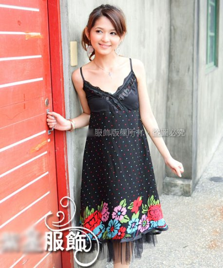 Korean Fashion Wholesale [C2-810] Flowers Chiffon Dress - Black