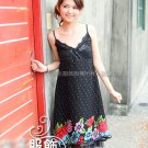 Korean Fashion Wholesale [C2-810] Flowers Chiffon Dress - Black
