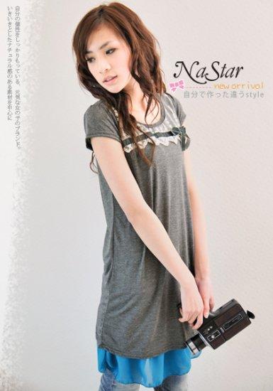 Korean Fashion Wholesale [B2-1332] Pretty knit crotcheted Dress - Green