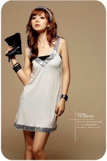 Korean Fashion Wholesale [B2-8903] Sparkling Sequined Dress - Cream