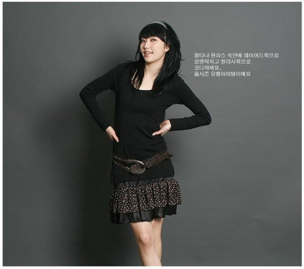 Korean Fashion Wholesale [C2-2225] Pretty Satin Inner Dress - Black
