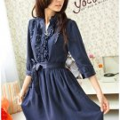 Korean Fashion Wholesale [B2-1288] Pretty Belted Dress - Navy
