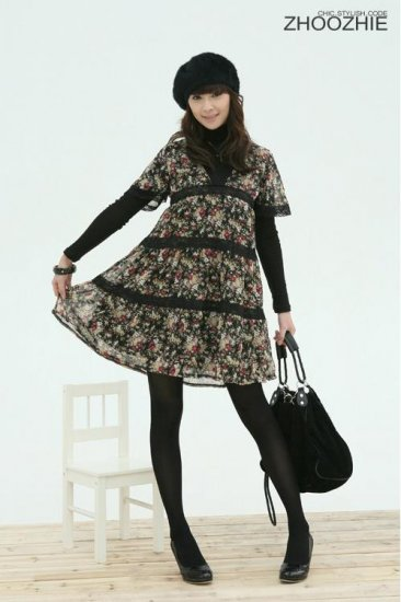 Korean Fashion Wholesale [B2-1279] Vintage Empire Dress - Black multi