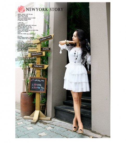 Korean Fashion Wholesale [B2-3618] Elegant Tiered Dress - White