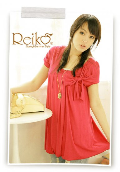 Korean Fashion Wholesale [C2-2256] Cute Bow Bubble Dress - Orange