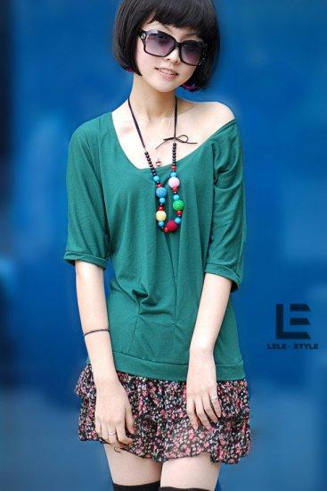 Korean Fashion Wholesale [C2-6009] Cute Shirt + Ruffle Skirt Dress - Green