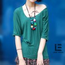 Korean Fashion Wholesale [C2-6009] Cute Shirt + Ruffle Skirt Dress - Green