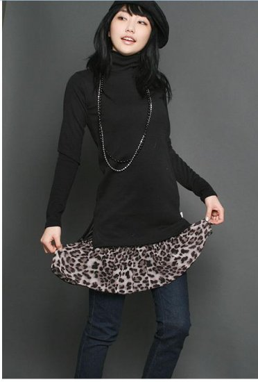 Korean Fashion Wholesale [C2-2237] Sexy Leopard Inner Dress - Black