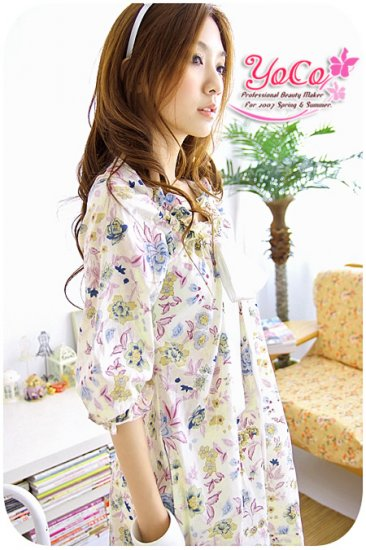 Korean Fashion Wholesale [B2-7463] Pretty Printed Dress
