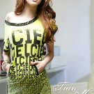 Korean Fashion Wholesale [B2-1462] Off-Shoulder Stylish Sequined Dress - lime