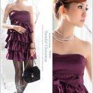 Korean Fashion Wholesale [B2-6247] Luxurious Tiered Satin Party Dress - Purple