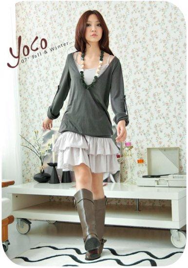 Korean Fashion Wholesale [B2-6258] Pretty Top&Dress Set - Green+Gray