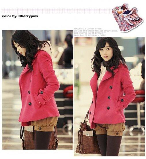 Korean Fashion Wholesale [B2-2018] Luxurious Jacket Coat - Pink - Size M