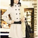 Korean Fashion Wholesale [C2-8021] Luxurious Long Coat - White - Size L