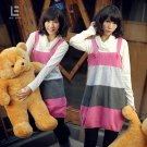 Korean Fashion Wholesale [C2-115] Cute Color Blocks Sweater Dress - Pink