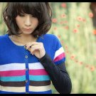 Korean Fashion Wholesale [C2-113] Cute Colorful Button-down Sweater Cardigan - Blue