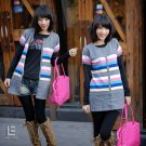 Korean Fashion Wholesale [C2-113] Cute Colorful Button-down Sweater Cardigan - Gray