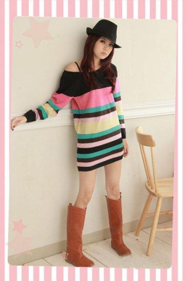 Korean Fashion Wholesale [C2-117] Cute&Warm Colorful Sweater - Black multi