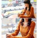 Korean Fashion Wholesale [D2-1053] Soft & Elegant V-neck Long Sleeve Top - orange