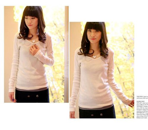 Korean Fashion Wholesale [D2-1053] Soft & Elegant V-neck Long Sleeve Top - white