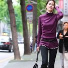 Korean Fashion Wholesale [E2-1104] Elegant Turtle-neck Long Sleeve Ribbed Top - purple