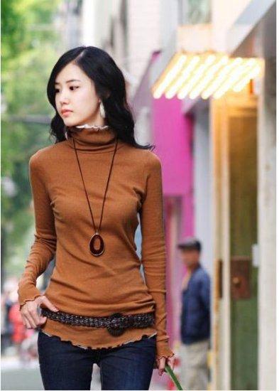 Korean Fashion Wholesale [E2-1104] Elegant Turtle-neck Long Sleeve Ribbed Top - orange