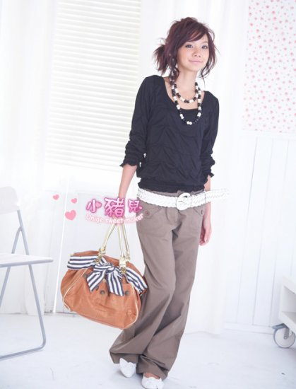 Korean Fashion Wholesale [B2-6248] Fashionable Baggy Pants - Brown- Size L