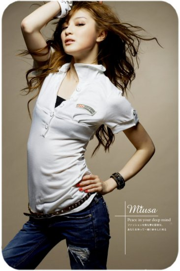 Korean Fashion Wholesale [B2-8924] Cute POLO Sporty Shirt - White