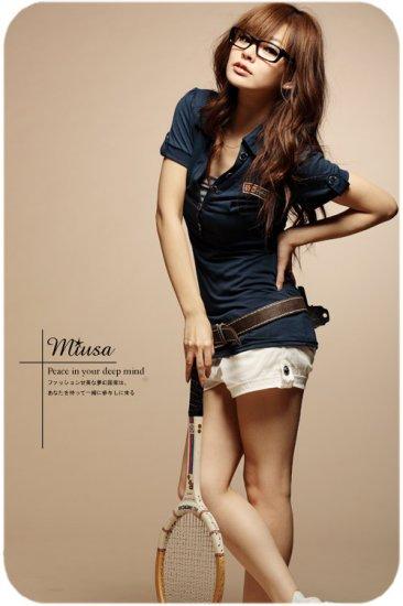 Korean Fashion Wholesale [B2-8924] Cute POLO Sporty Shirt - Navy