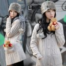 Korean Fashion Wholesale [C2-112] Warm&Pretty Hooded Sweater Jacket