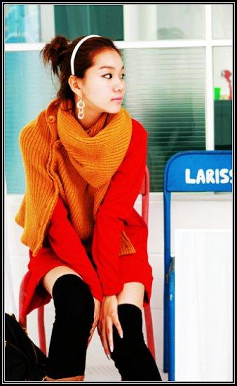 Korean Fashion Wholesale [B2-6214] Stylish&Warm Long Baggy Top/Dress - Red