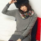Korean Fashion Wholesale [B2-1571] Stylish&Unique Colorful Scarf Collar Shaping Top - Gray
