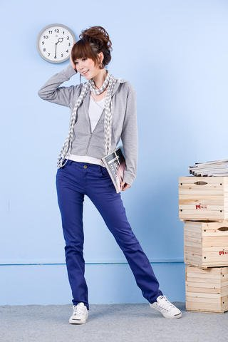 Korean Fashion Wholesale [E2-008] Stylish&Casual Colored Pants - Blue- Size S