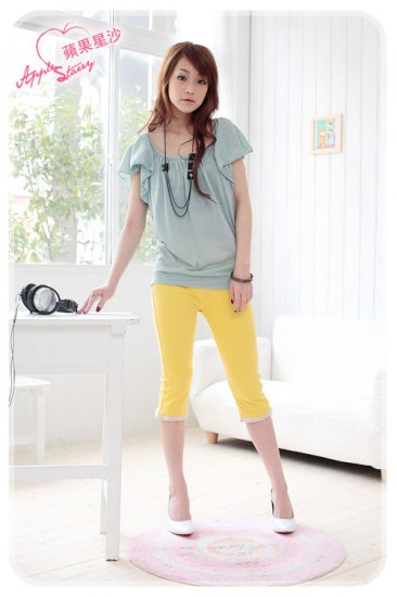 Korean Fashion Wholesale [C2-319] Cute Colored Lace Fitting Pants - Yellow