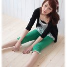 Korean Fashion Wholesale [C2-319] Cute Colored Lace Fitting Pants - Green