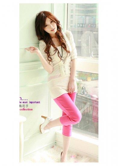 Korean Fashion Wholesale [B2-8711] Cute Colored Fitting Pants - Hot pink