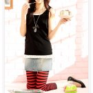 Korean Fashion Wholesale [C2-904] Playful Striped Leggings - Black+Red