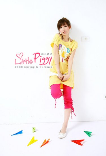 Korean Fashion Wholesale [B2-7089] Super Cute Color Denim Washed Leggings/Pants - Hot Pink