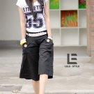 Korean Fashion Wholesale [C2-6026] Comfortable Capri Pants with Belt - Black