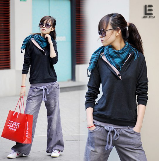 Korean Fashion Wholesale [C2-6099] Baggy Denim Jeans - Gray wash