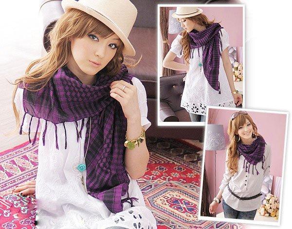 Korean Fashion Wholesale [C2-902] Trendy Must-have Checkered Scarf/Muffler - Black+Purple